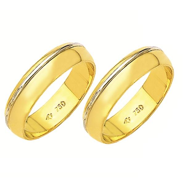 Alianças de casamento e noivado em ouro 18k 750 trabalhadas 2 tons 5.5 mm