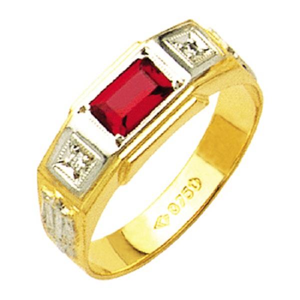 Anel de Formatura com diamantes em Ouro amarelo e branco 18k