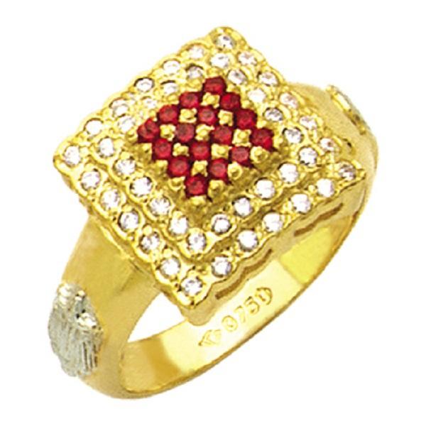 Anel de Formatura com diamantes e pedras central separadas todo natural em Ouro 18k