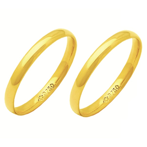 Alianças de casamento e noivado em ouro 18k 750 abaulada e anatômica 2,5 mm