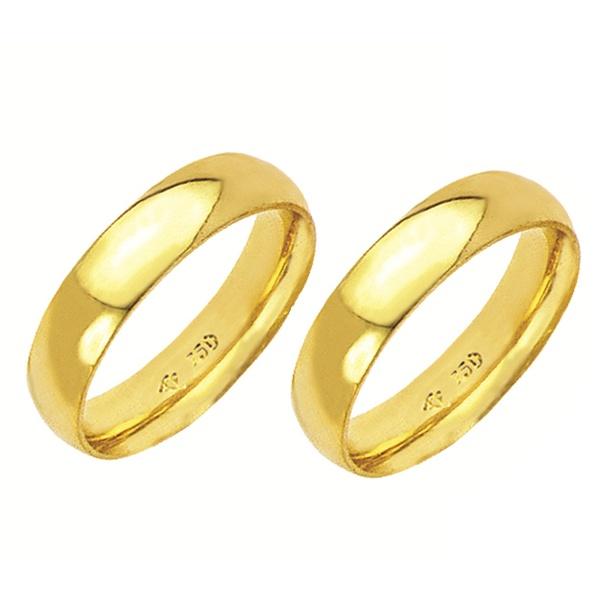 Alianças de casamento e noivado em ouro 18k 750 abaulada e anatômica 5 mm