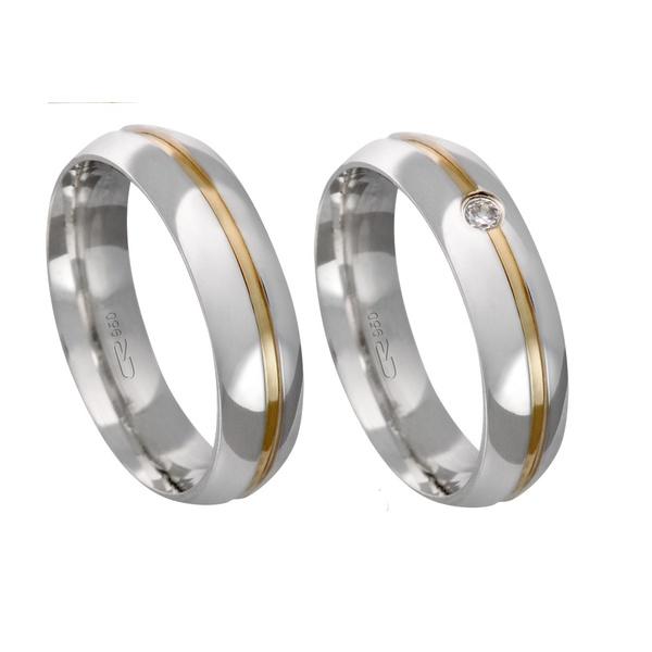 Alianças de compromisso em prata 950 com fio de ouro e pedra 5 mm