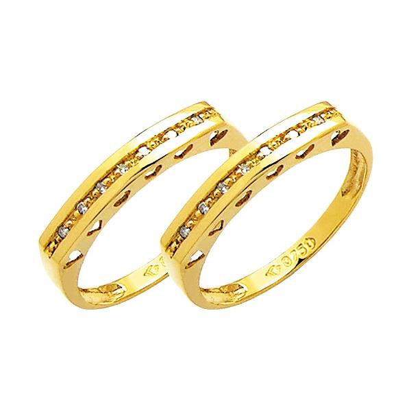 Par Aparador de Aliança para noivado e casamento com diamantes em ouro 18k 750