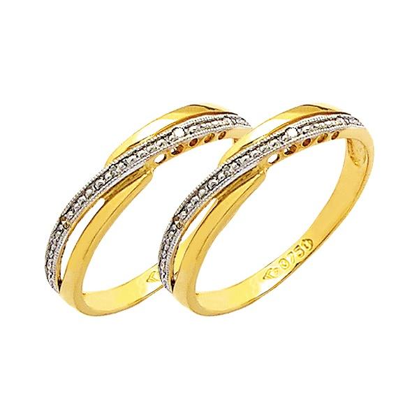 Par de Aparador de Aliança para noivado e casamento 02 tons em ouro 18k 750