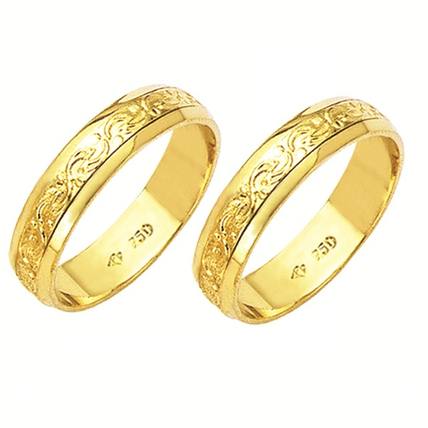 Alianças de casamento e noivado em ouro 18k 750 trabalhadas 5 mm