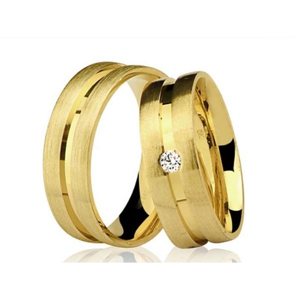 Alianças de casamento e noivado em ouro 18k 750 trabalhadas com diamante 7.00 mm