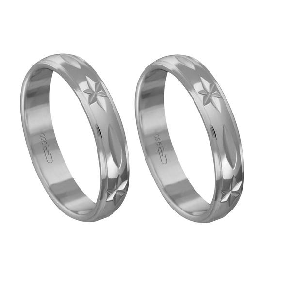 Alianças de compromisso em prata 950 modelo diamantado 4 mm