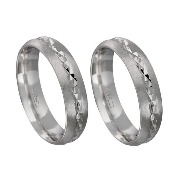 Alianças de compromisso em prata 950 modelo diamantado 5 mm