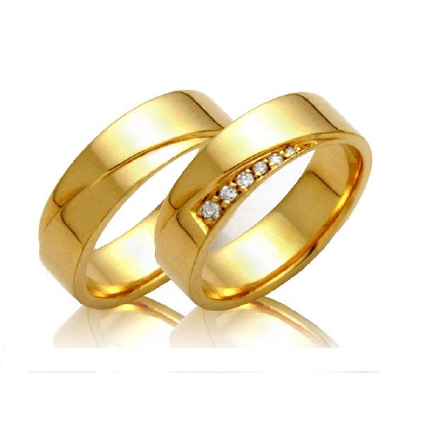 Alianças de casamento e noivado em ouro 18k 750 trabalhadas e anatômicas com diamantes 6.50 mm