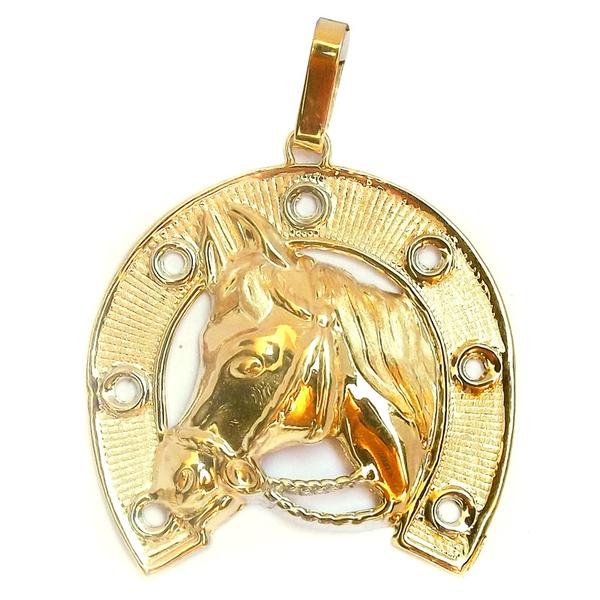 Pingente de Ouro Cavalo Ferradura detalhado