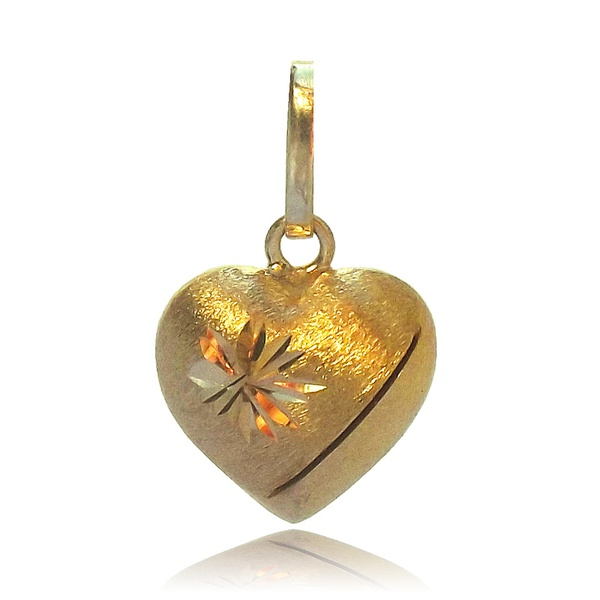 Pingente de Ouro 18k coração delicado e desenhado
