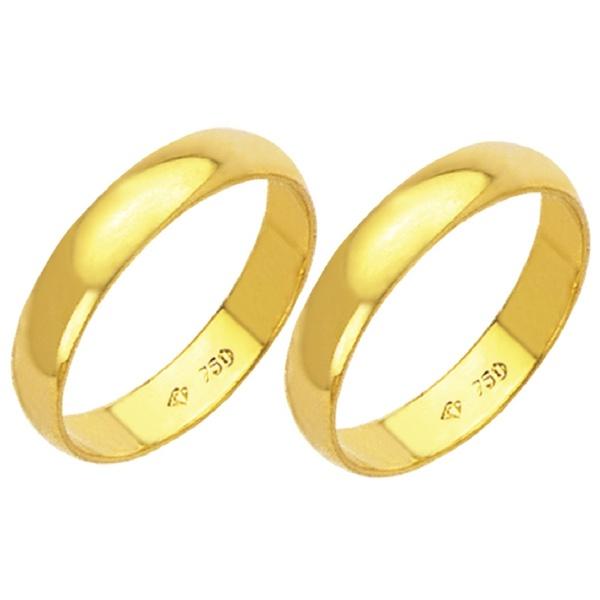 Alianças de casamento e noivado em ouro 18k 750 tradicional 3.5 mm