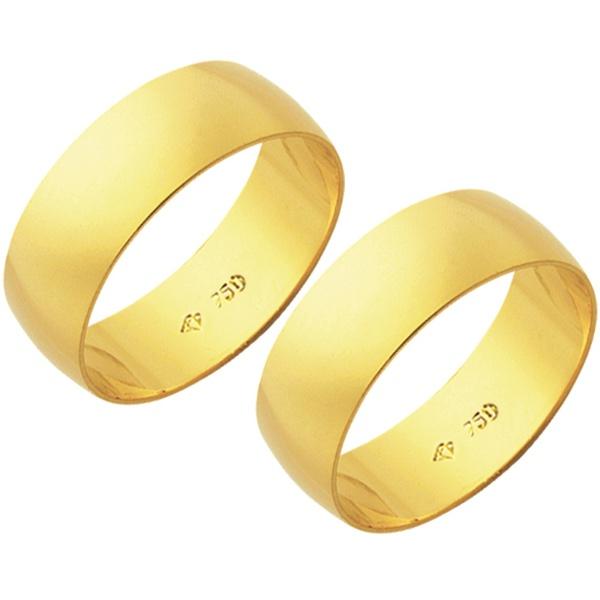 Alianças de casamento e noivado em ouro 18k 750 tradicional 6,5 mm