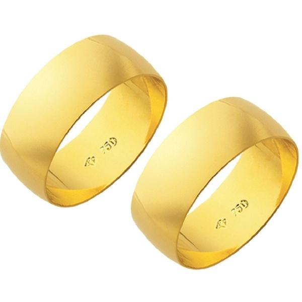 Alianças de casamento e noivado em ouro 18k 750 tradicional 7,5 mm