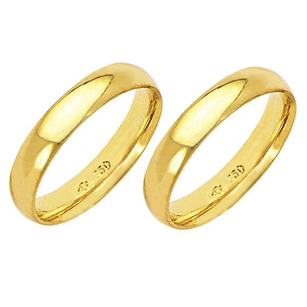 Alianças de casamento e noivado em ouro 18k 750 Anatômicas 4 mm