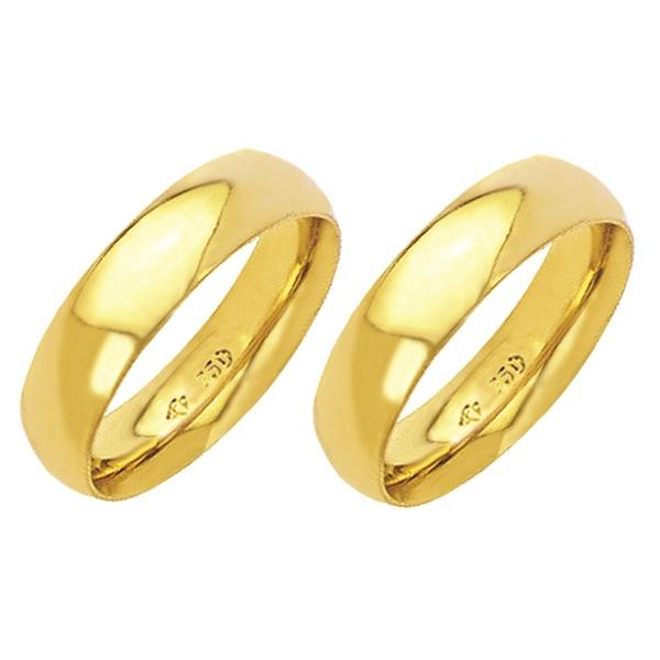 Alianças de casamento e noivado em ouro 18k 750 tradicional e anatômica 5,5 mm