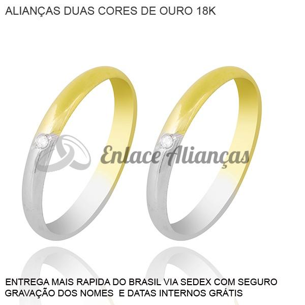 Alianças de duas cores de ouro 18 k