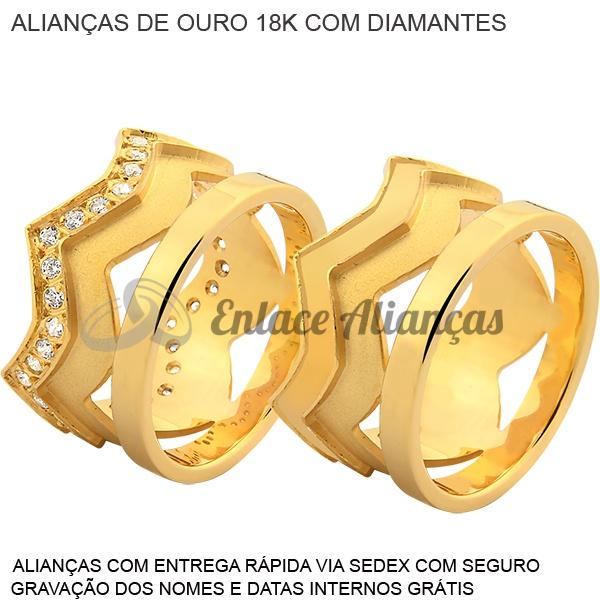 Alianças de Coroa de Ouro 18 k