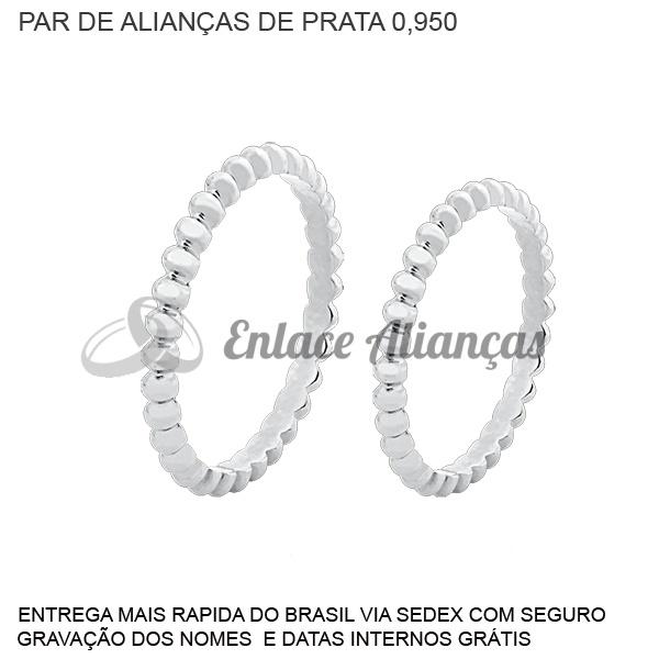 Par de Alianças de Prata 0,950
