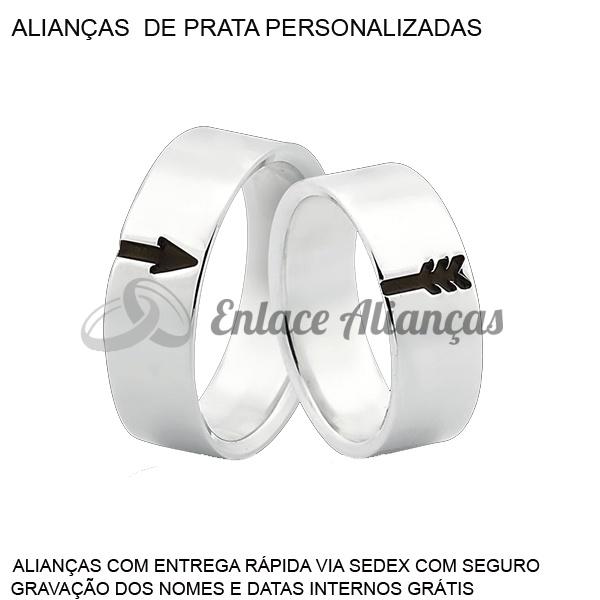 Par de Alianças Personalizadas com seta em Prata 0,950