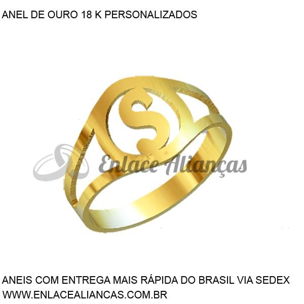 Anel de Ouro 18 k persolanizado com letra S