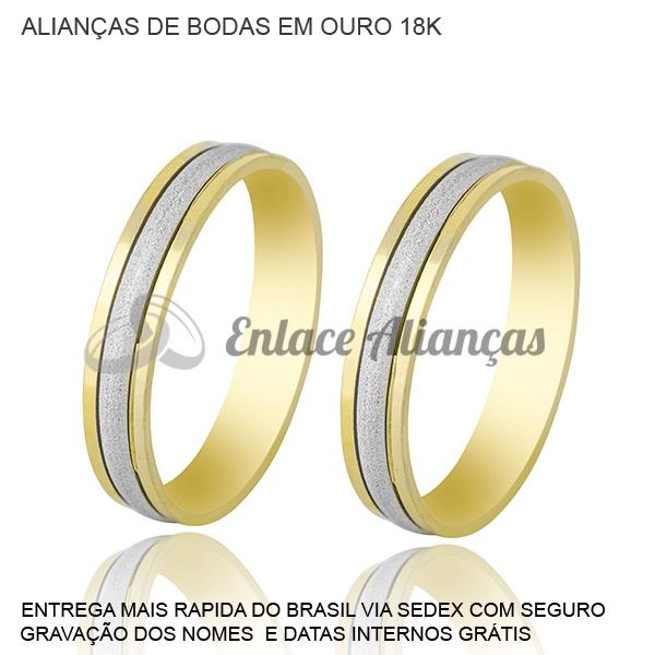 Alianças de bodas de Prata de ouro 18 k