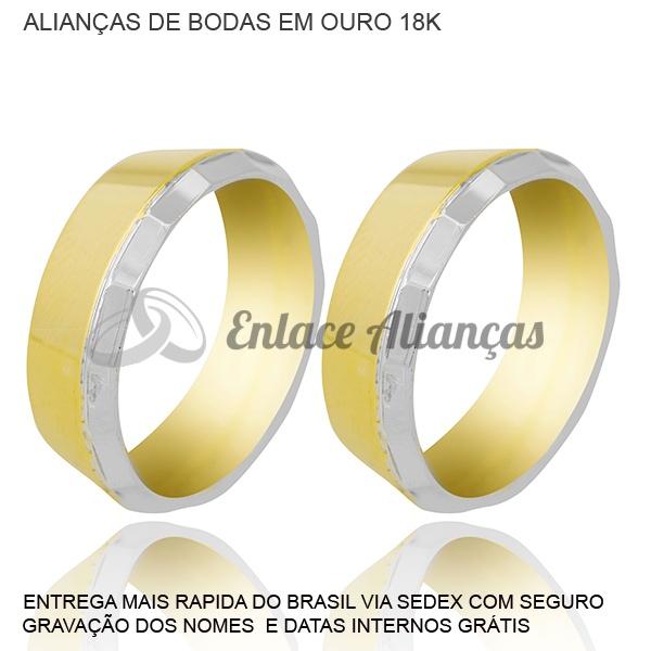 Alianças de bodas dePrata em Ouro 18 k