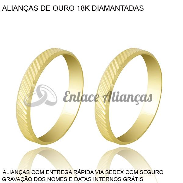 Alianças de Ouro 18 k Diamantada