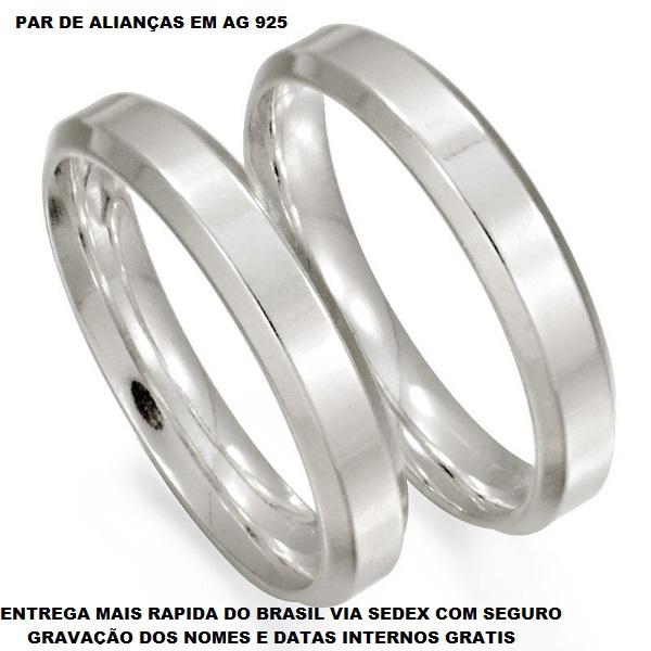PAR DE ALIANÇAS DE PRATA RETA CHANFRADA LISA