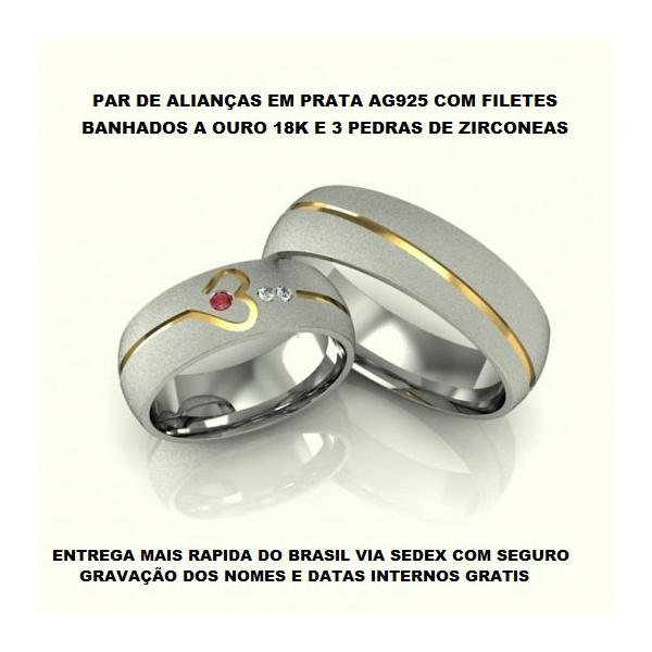 PARA DE ALIANÇAS DE PRATA COM BANHO DE OURO 18K E 3 PEDRAS