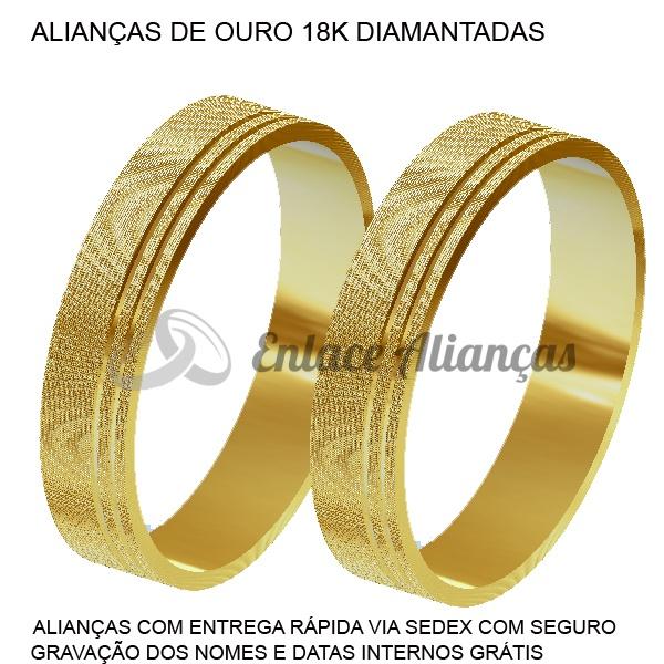 Alianças de Ouro 18 k diamantadas