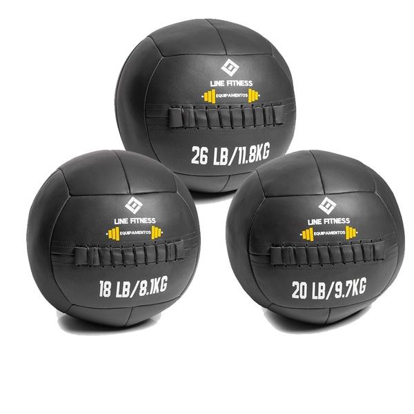 Kit Wall Ball 8 Kg - 10 Kg - 12 Kg em Couro