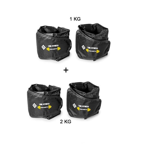 Kit 1 Par de Tornozeleira 1KG + 1 Par de Tornozeleira 2KG