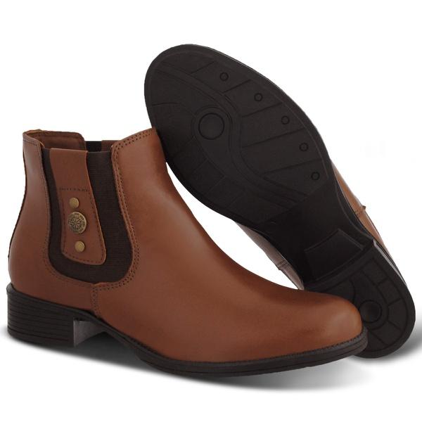 Botina Chelsea Boots Feminina Couro Legitimo Brandy Escrete