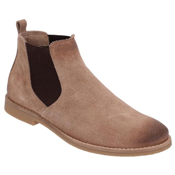 Botina Chelsea Boots Areia Manchada Em Couro Camurça