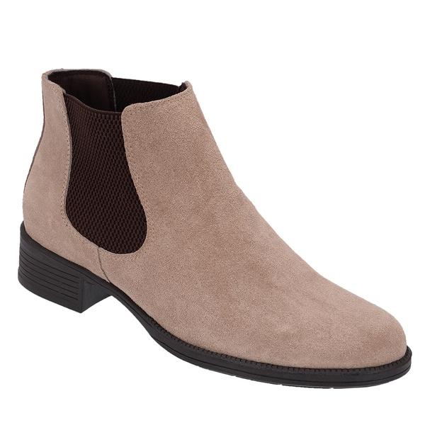 Botina Chelsea Boots Feminina Couro Legitimo Escrete Camurça Areia