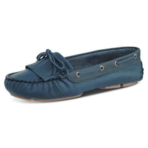 Sapatilha Feminina Mocassim em couro Legitimo-Azul