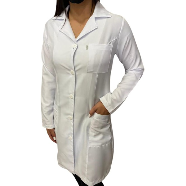Jaleco Feminino Acinturado em Microfibra Fina Gola Blazer Manga Longa Branco