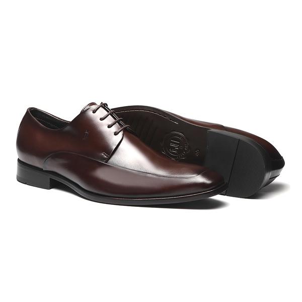 Sapato Masculino Derby social recorte lateral napa mouro