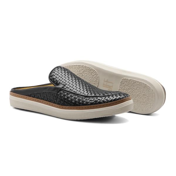 Sapato Masculino Mule Napa Tresse Preto
