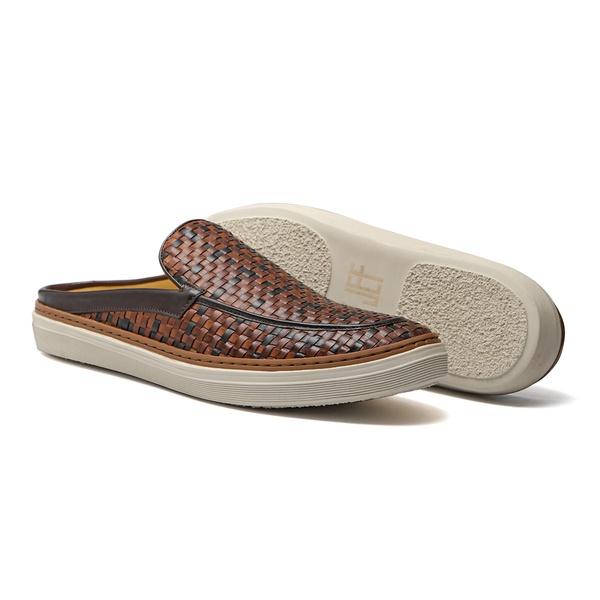 Sapato Masculino Mule Napa Tresse Bicolor Amêndoa Preto