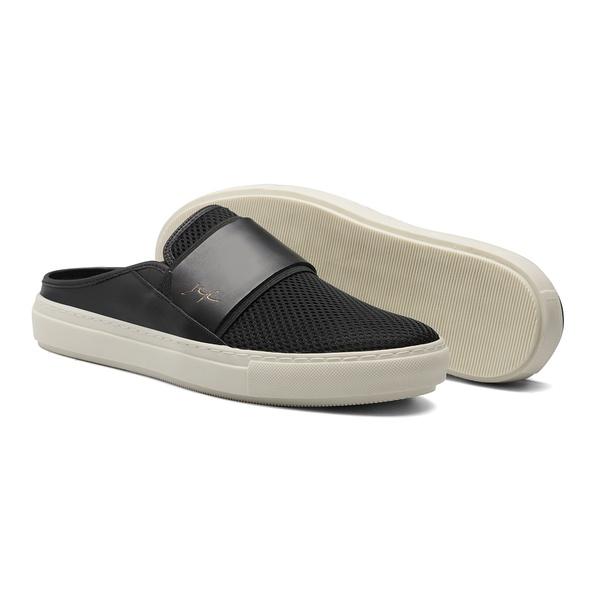 Sapato Masculino Mule Neoprene Pala Couro Preto