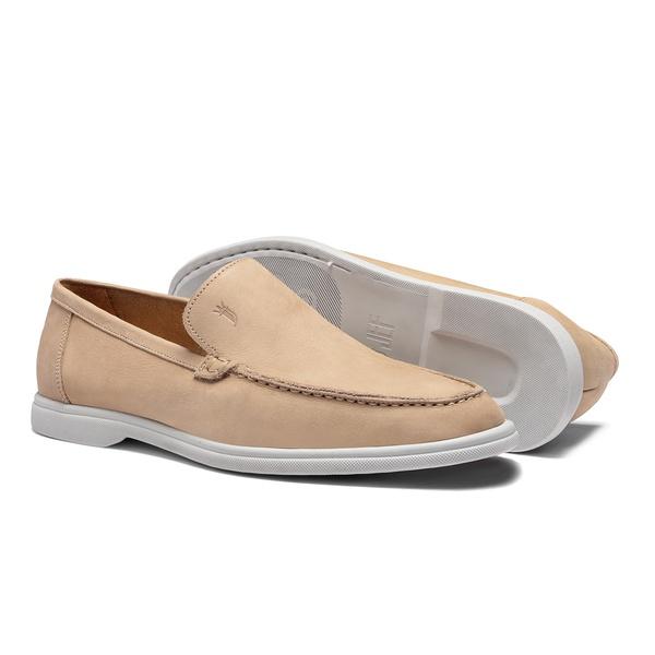 Sapato Masculino Sider Liso Nobuck Bege