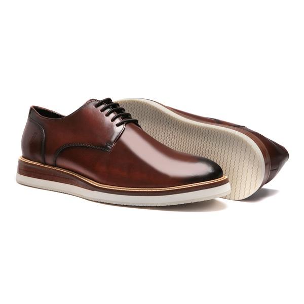 Sapato Masculino Derby Casual Liso Vintage Tabaco