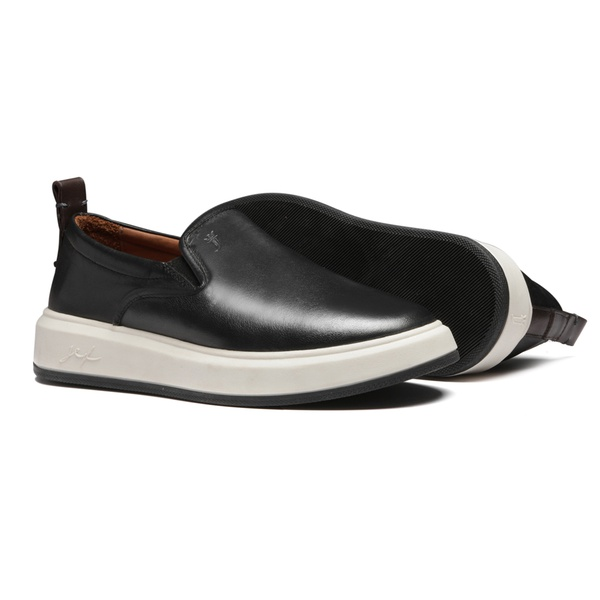 Sapato Masculino Yacht Mestiço Liso Preto