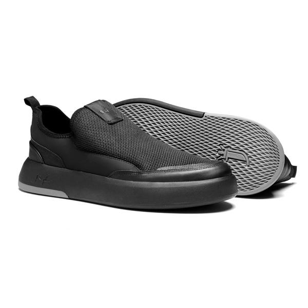Sapato Masculino Yatch Knit Couro Preto