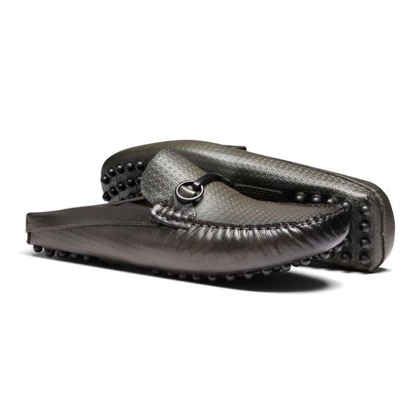 Sapato Masculino Mule Casual Estampa Linho Bridao Preto Latego Chumbo