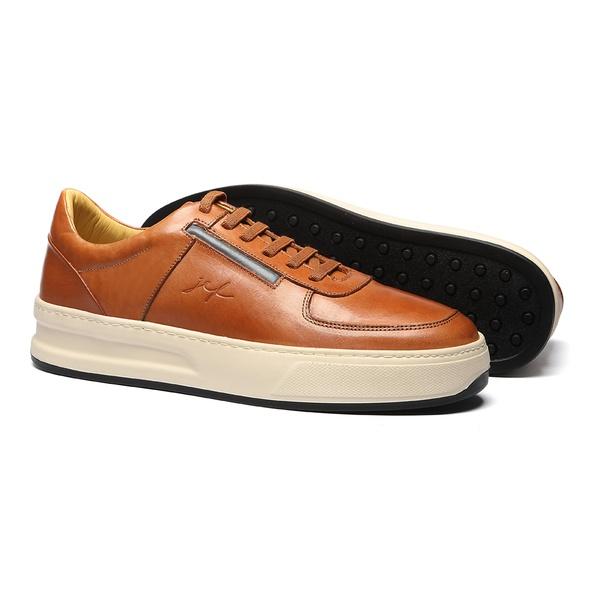 Sapato Masculino Sneaker Napa Amendoa-Marinho