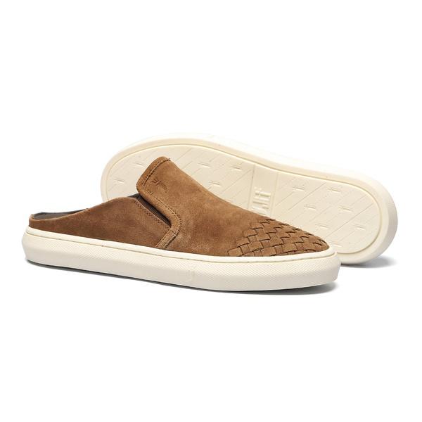 Sapato Masculino Mule Casual Bico Tresse Camurça Ocre