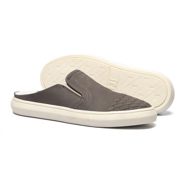 Sapato Masculino Mule Casual Bico Tresse Nobuck Grafite